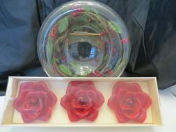 Floating Candle Glass  Bowl with 3 candles Holiday decoratio