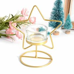 Gold Star Candlestick Metal 3D Modern Style Candle Holder Te