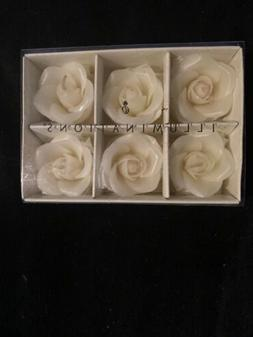 ILLUMINIATIONS FLOATING ROSES IVORY CANDLES  NEW 1 1/2 D
