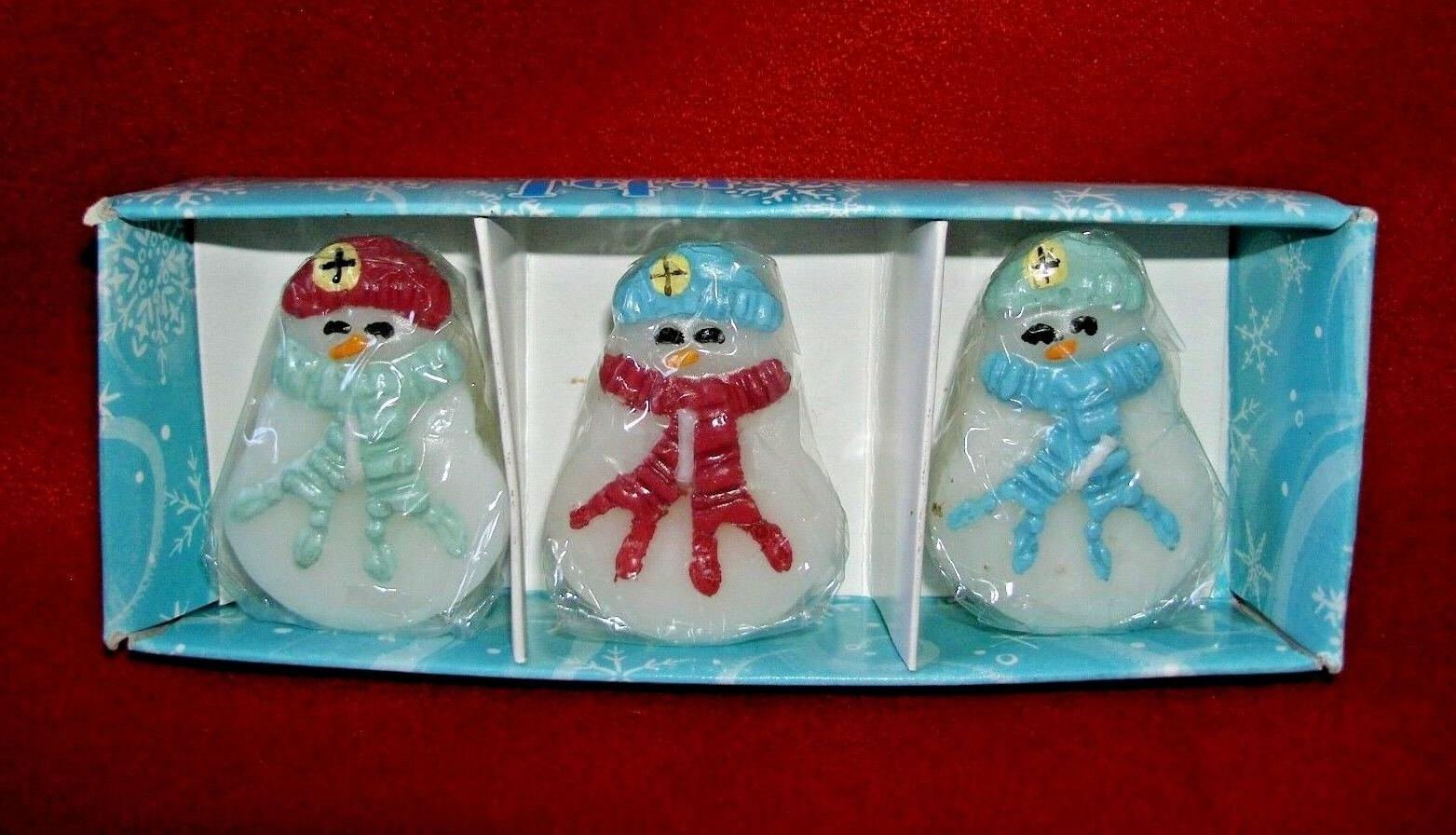 set of three snowmen floating candles new