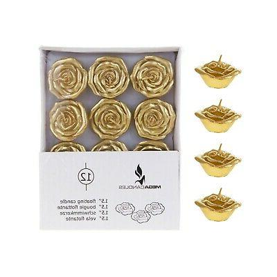 unscented 1 5 floating flower candles gold