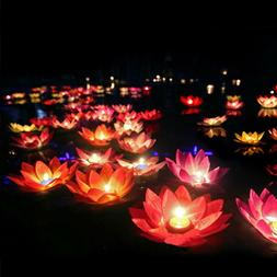Floating Lotus Lights Water Lily Candles Light for Pool Fest