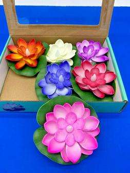 LED LOTUS FLOATING CANDLES MULTI COLOR FLICKERING LIGHT 6PC