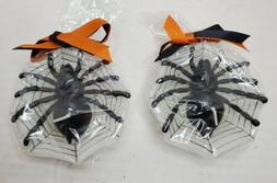 LOT 2 HALLOWEEN FLOATING SPIDERS IN WEB CANDLES VINTAGE 1990