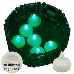 NEW 6 Green Led Floating Floral Tea Light Candle for Wedding