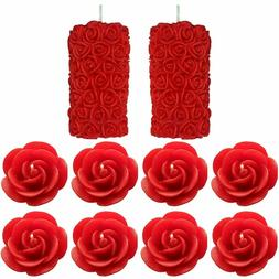 Rose Pillar and Floating Rose Decorative Red Color Set of 10