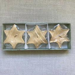 Set of 3 Tag Floating Candles. Holiday Decor Metallic Gold S
