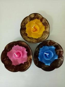 Set of candles in 3 coconut shells, handmade flower candles,