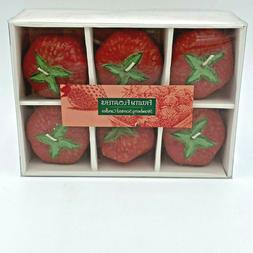 Strawberry Shape Floating Candles Set 6 Fruity Floaters Scen
