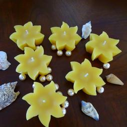 Sun Floating Candles/Set of 6 Yellow Beeswax Sun Shaped Cand