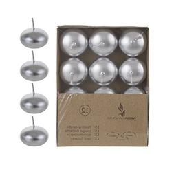 """Mega Candles - Unscented 1.5"""" Floating Disc Candles - Silver"""