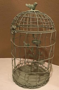 Vintage Bird Cage Candle Holder w/ Flowers Iron Hollow Tea l